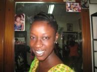Ami at the salon, hair started, no make-up yet