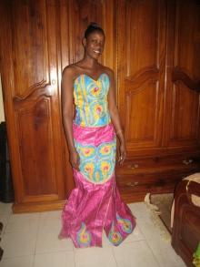 Ami in her Wedding Dress, having changed in the salon owner's bedroom next door