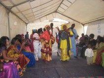 Followed by traditional singing, telling stories and praising the couple