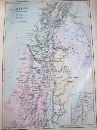 'Palestine in the Time of Our Saviour' - map c 1885