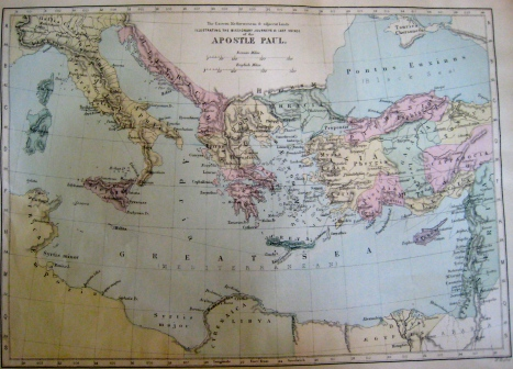 Map c. 1885 'Illustrating the Missionary Journeys and Last Voyage of the Apostle Paul'