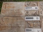 Part of the beautiful carved information board in the N.T. car-park