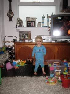 Little boy in blue pyjamas