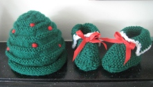 Christmas hat and boots for new-born