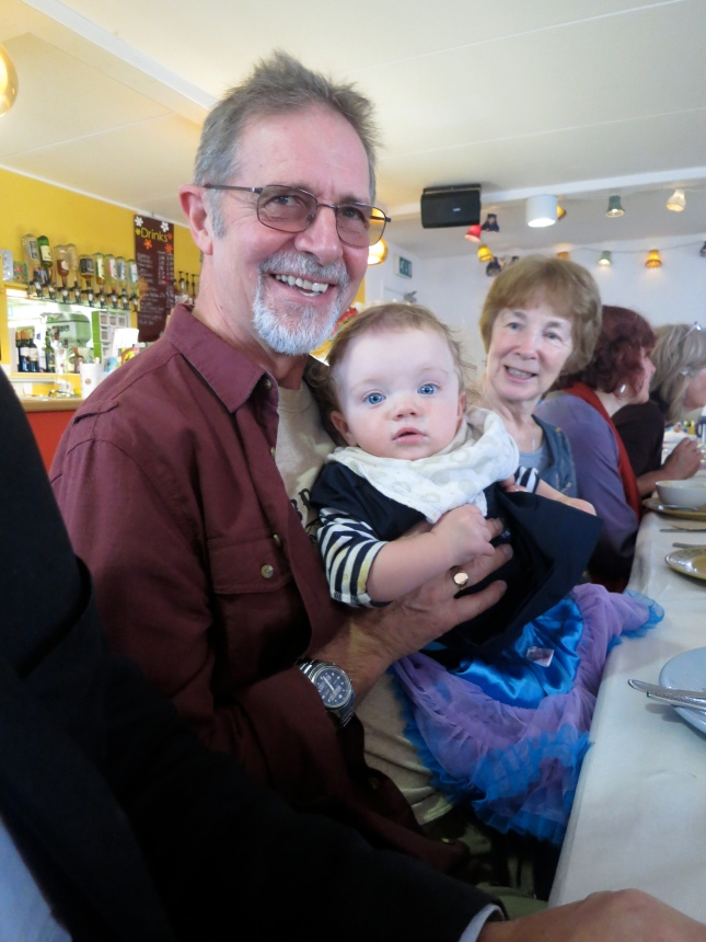 Choir-baby T at the Christmas lunch with a good friend