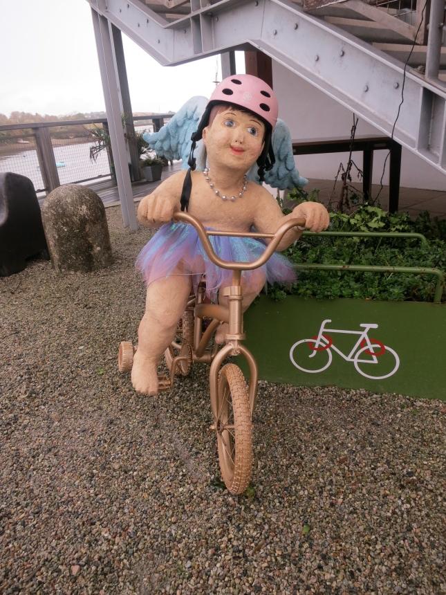 Cycling Angel at Miss Peapod's