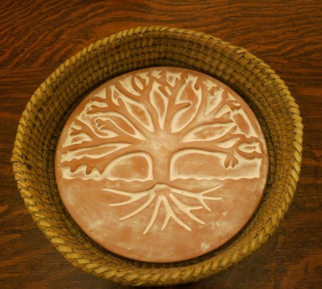 Beautiful bread basket with clay warmer