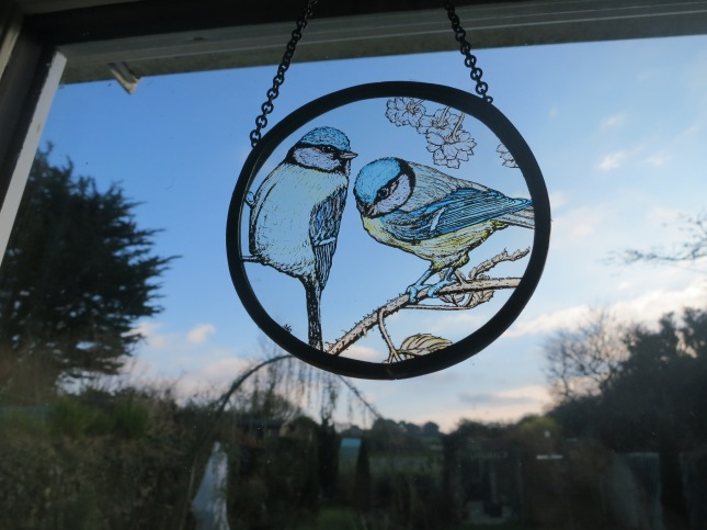 Glass etching of  Blue-tits