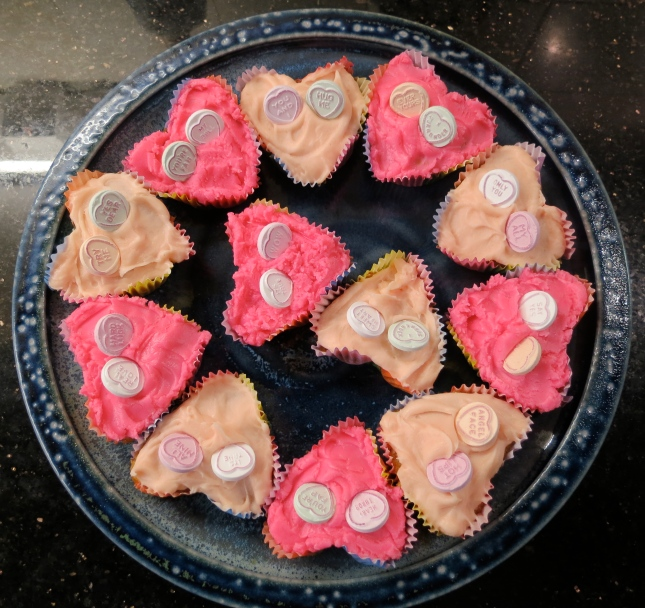 A plateful of heart buns to sell at choir tomorrow for Comic Relief