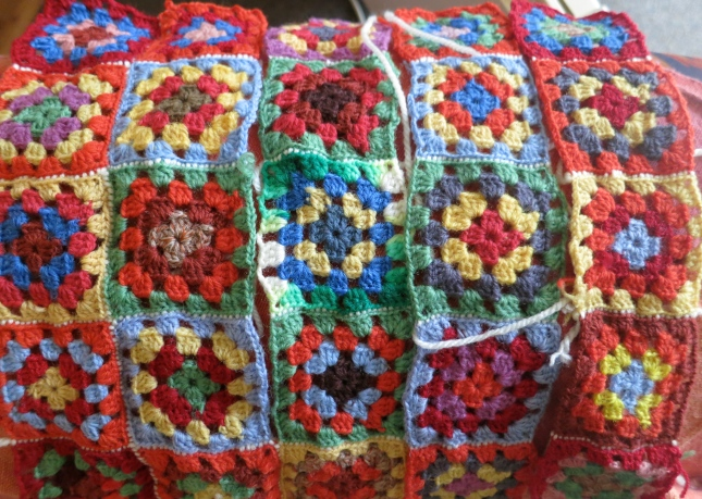 Crochet squares made by the baby's Great Great Granny