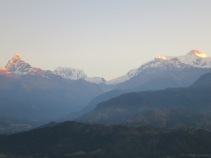 Dawn kissing the peaks of the Annapurnas