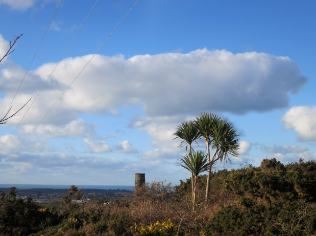 Sea, chimney and sky from The Great Flat Lode