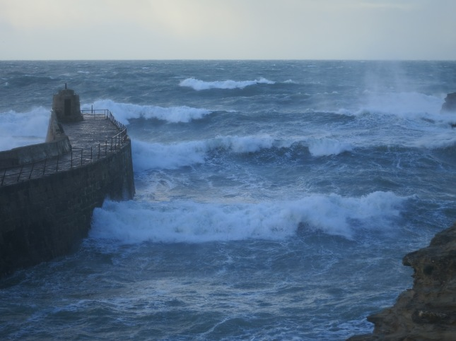 Wild waves at the opening of Portreath Harbour