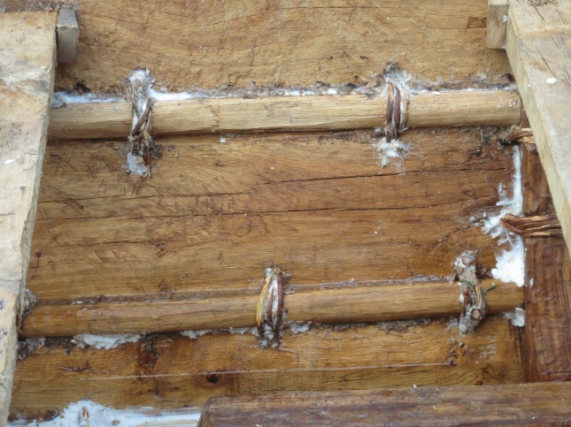 Detail of sewn planks, holes plugged with grease
