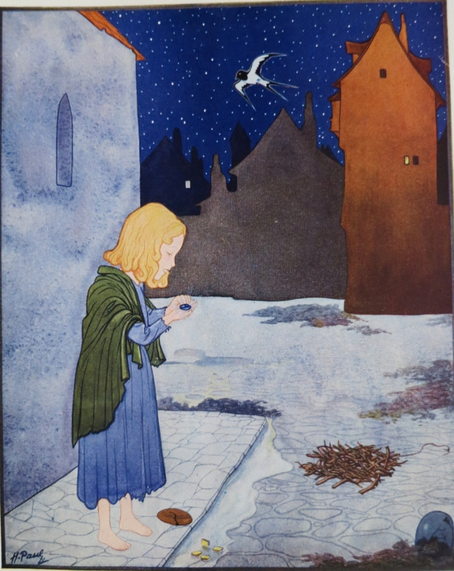 The little match girl to whom the swallow has taken a sapphire - the second of the Prince's eyes