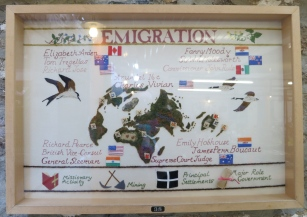 Tregellas tapestry showing emigration. Thousands left Cornwall taking their mining skills all over the world