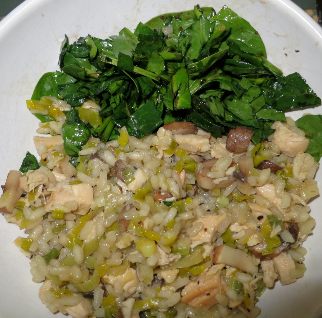 Chicken, Leek and Mushroom Risotto with spinach salad