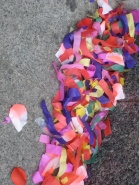 Confetti in the street in Barcelona