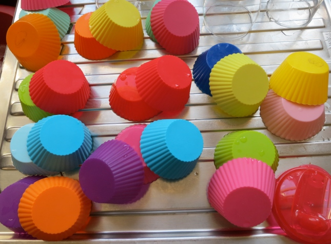 Cup cake cases drying