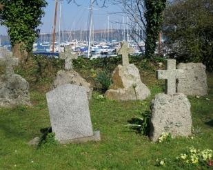 Graveyard with the marina behind