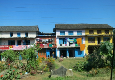 Colourful house and washing in Nepal