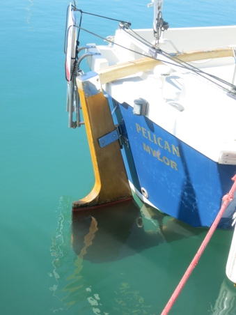 Rudder in the water