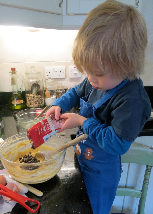 Adding the chocolate  chips