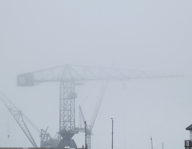 Crane at Falmouth Docks, lost in the mist