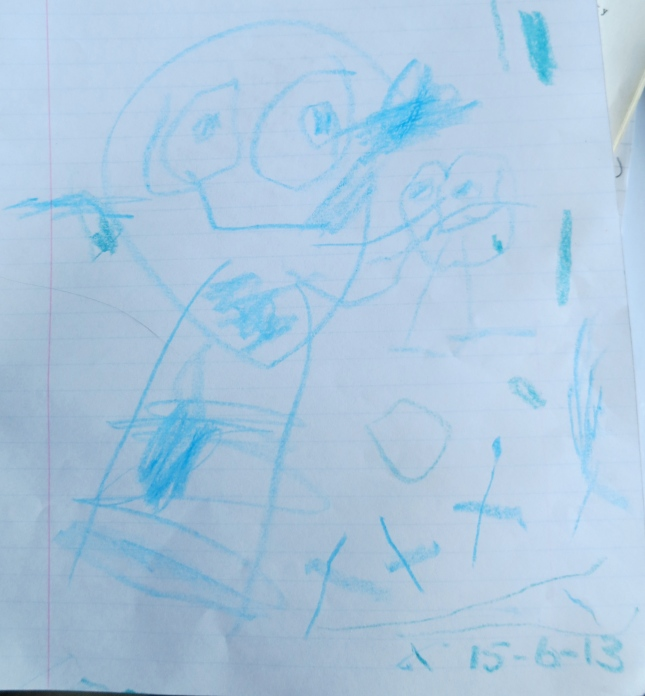 J's drawing for his baby cousin