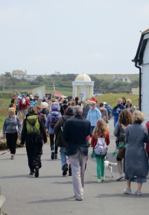 The walkers set off led by the cast