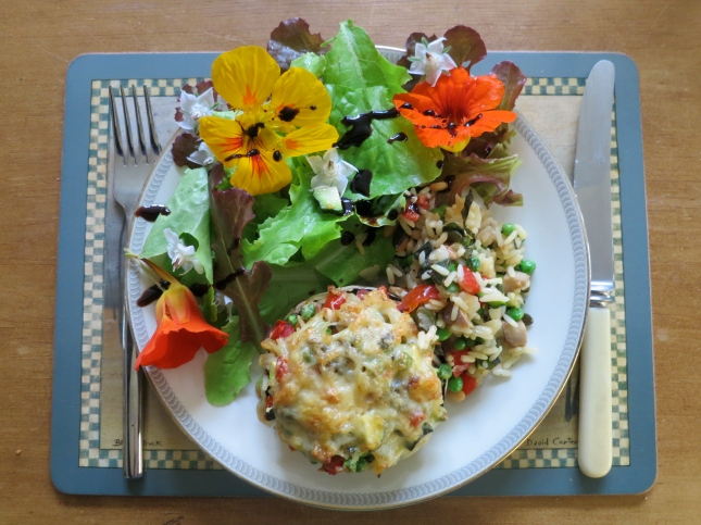 Stuffed mushrooms and flower salad