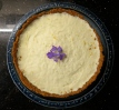 Lime, lemon and violet cheesecake for buffet