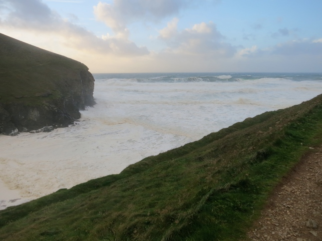 Foamy seas at Chapelporth