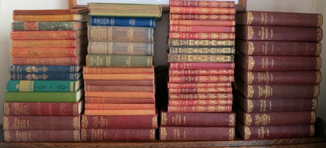 Layers of book spines