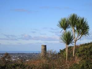 Palm trees, an engine house chimney and the sea