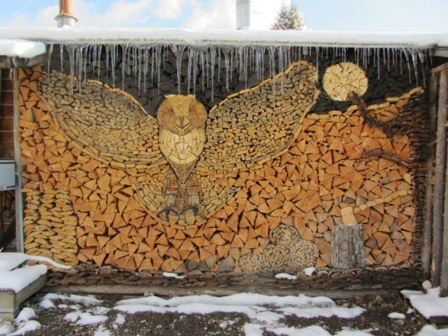 Beautiful owl woodstack