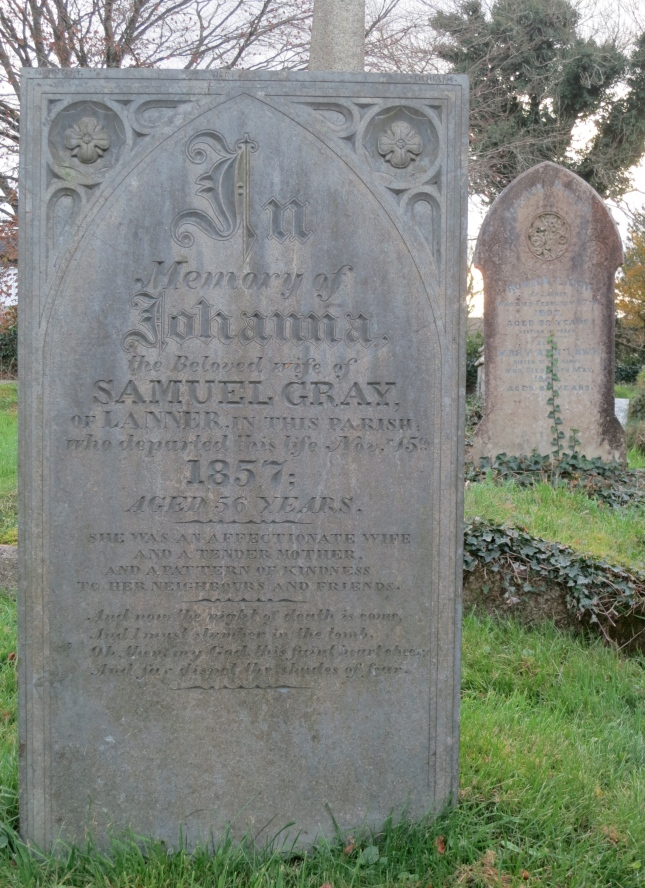 Gravestone for Johanna Gray of Lanner