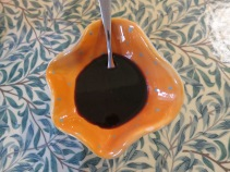 Salad dressing in one of N's beautiful bowls