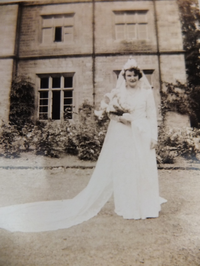 My Mum at her Wedding in front of Cockerham Vicarage, Lancashire