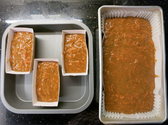 Carrot cakes ready to bake