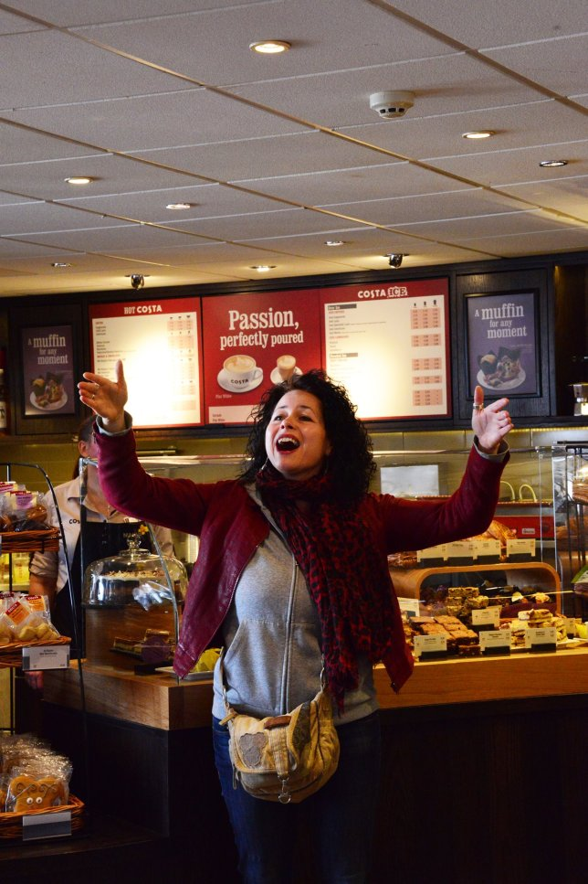 Flash Mob for International Womens Day! Love this photo of Claire taken in Waterstones by Amanda.