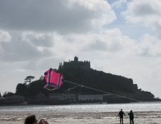 St Michael's Mount and a pink kite
