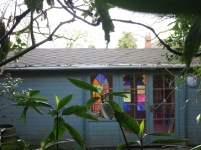 Stained glass windows in a Summer house
