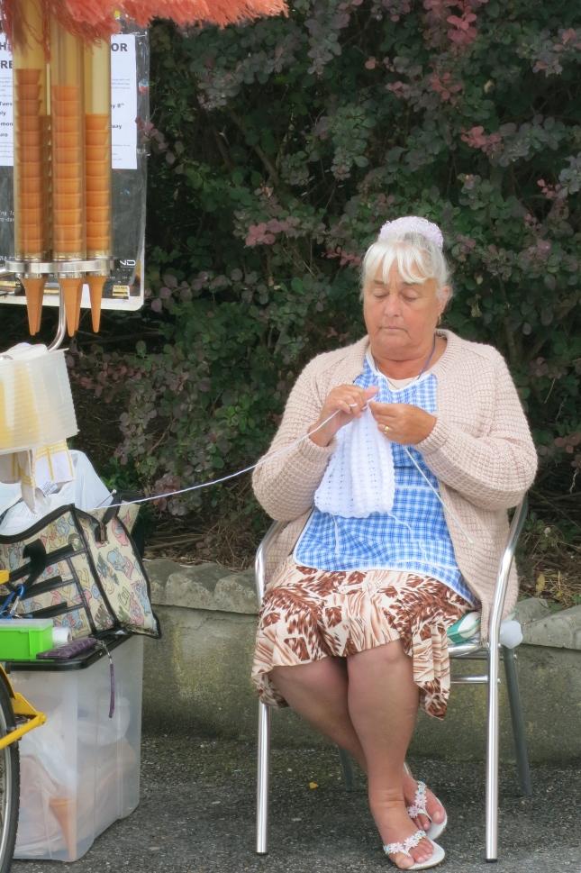 Ice-cream lady knitting