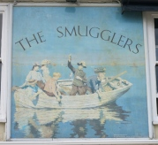 Painting for the Smugglers' Inn. Read the words at the bottom!