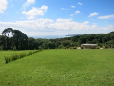 Richard Long's line and the outside of James Turrell's Tewlwolow Kernow
