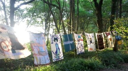 Banners made by local people in the workshops held in the months before production