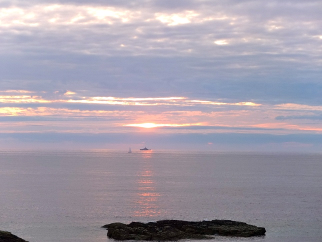 Sunset and ships at Godrevy