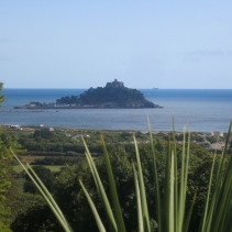 View of St Michael's Mount from the top of the gardens