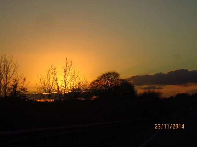 Driving towards the sunset as we came home